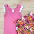 Size 2-3 Flutter Singlet - Girls top - Pink - Lace Sleeves