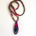 Unique  felt and bead necklace/pendant. Colourful. Handmade felt pendant.