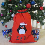 CHILD'S CHILDS PERSONALISED CHRISTMAS SANTA SACK - PENGUIN DESIGN
