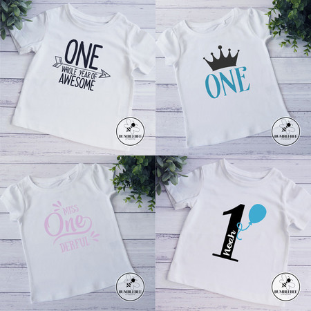 1st Birthday Celebration T-shirt. One Year Awesome Crown Onederful