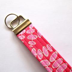 Wrist Key Fob / Keyring - Pink Bush Sticks / Polka Dots