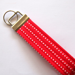 Wrist Key Fob / Fabric Key Ring - White Dots stripes on Red