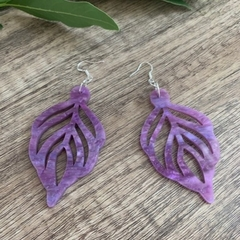 Purple Leaf Acrylic  Earrings