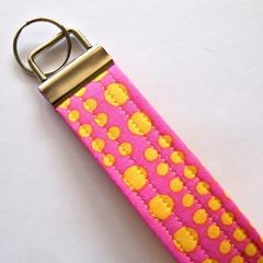Wrist Key Fob / Keyring - Yellow Spots on Pink