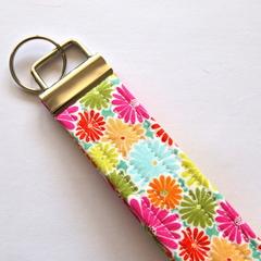 Wrist Key Fob / Key Ring - Spring Flowers