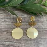 Half Moon & Circles Gold Acrylic  Earrings