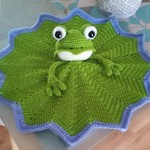 Crochet Frog on a Lily Pad Security Blanket