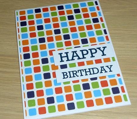 Male Happy Birthday card - square print