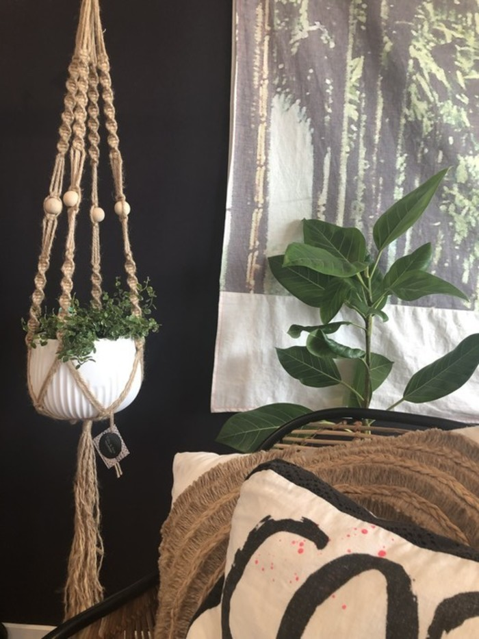 Plant Hanger Macrame Large Jute Timber Beads For Natural Earthy