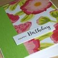 Female Happy Birthday card - modern pink green flower