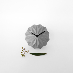 Silver origami desk clock, sculptural clock without numbers, elegant modern home