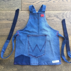 Toddler  upcycled  denim apron Suits 2-4 yr old