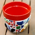 Mosaic Flower Pot - Medium Pot Series 7 - Red Frog