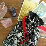 Silk tarot and oracle card pouch Rune and crystal bag Vintage kimono silk