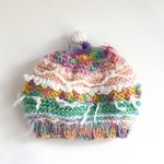 Colourful winter beanie/beret for baby. Embellished. Pretty. One of a kind.