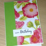 Female Happy Birthday card - modern pink green flower