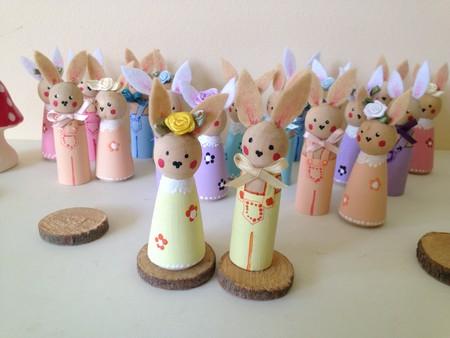 Peg Doll Bunnies Easter Bunnies set of 2