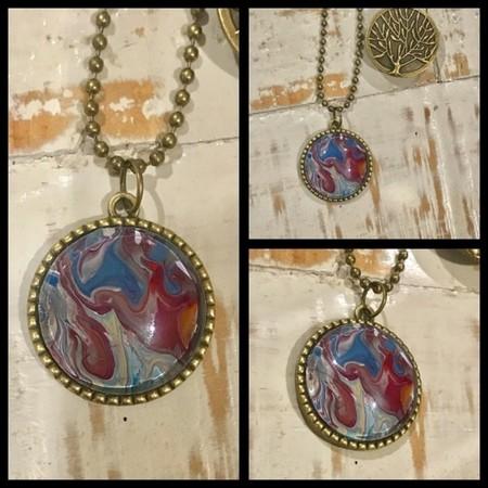"Handmade Original Acrylic Pour Tree of Life Pendant Necklace ~ ""Rising"""