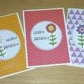Set 3 Female Happy Birthday cards - flowers