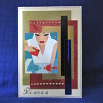 'Pisces Girl Feeding Fish' on Pearlised Cream Birthday Card