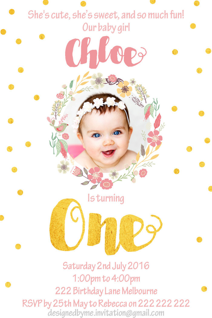 Gold and pink / floral wreath 1st Birthday invitation - Printable Birthday Inv | Designed By Me Invitations | madeit.com.au