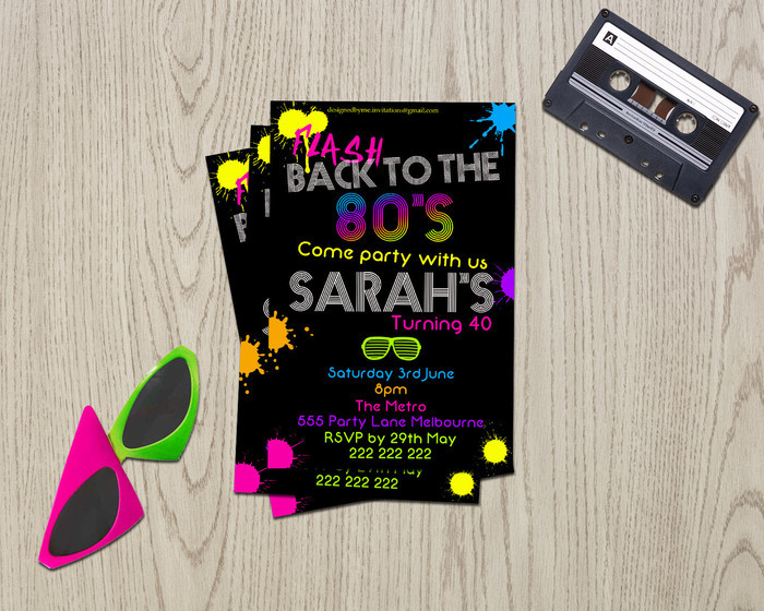 good 80s birthday invitation for 31 80s theme birthday invitation template