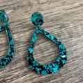 Emerald Green Chunky Glitter Drop Earrings