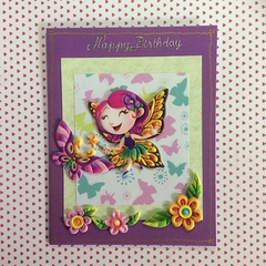 'Happy Happy To You' Purple Birthday Card with Fairy