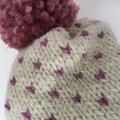 Knitted cream fair isle beanie, cream hat, pink beanie, beanie, slouchy hat