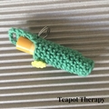 Lip Balm Cosy with Keyring - Green with yellow button