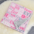 Personalised Baby Name Blanket - pink grey colour (SINGLE BED SIZE)