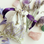 Small cotton drawstring bag - Pendulum Pouch Lavender and Bees