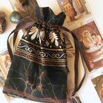 Brown and Gold Drawstring Pouch Tarot, Oracle, Rune Bag Ancient Rome