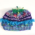 Unique embellished child/teen winter hat. Colourful. Beads. Textures. Blue.