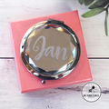 Jewel Top Mirror Compact. 3 Colours. Personalised gift. Black Clear Champagne