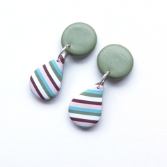 Multi Stripe teardrop polymer clay earrings by Sasha and Max Studio