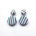 Multi Stripe round polymer clay earrings by Sasha and Max Studio