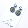 Multi Stripe green round drop polymer clay earrings by Sasha and Max Studio