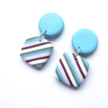 Multi Stripe square polymer clay earrings by Sasha and Max Studio