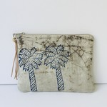 Palm tree handblocked clutch. A unique one of a kind gift for a woman