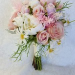 Pink Peony & Rose Artificial Wedding Bouquet with Daisies, Astilbe, Dusty Miller