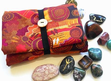 Australian Aboriginal design tarot reading cloth and wrap.