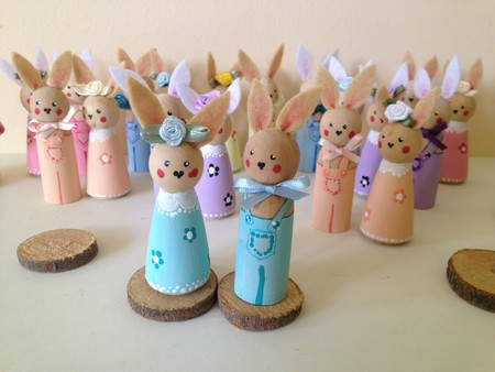 Peg Doll Bunnies Set of 2 Mint