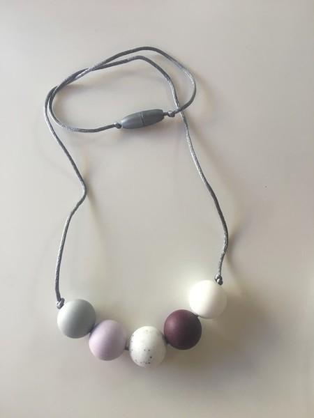 Silicone Necklace - Aubergine, Lavender and White Granite.