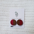 Hand painted wooden earrings in Pink