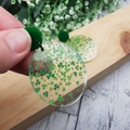 Luck - St Patrick's Day - Clover - Green -  Dangle Earrings - Acrylic - Glitter