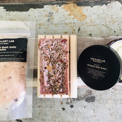 Soap, Bath & Body Gift Set: French Red Clay Bath Salts, Rose Soap, Body Butter