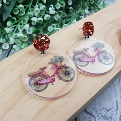 Vintage Bicycle -  Dangle Earrings - Acrylic - Purple Teal