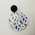 Floating Feathers -  Dangle Earrings - Acrylic - Purple Teal