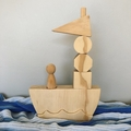 Wooden Shape Boat with Sailor. (8 Piece)